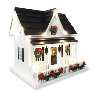 Kringle Cottage With Mini Led Lights Birdhouse