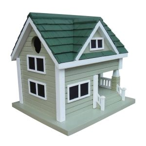The Lodge Birdhouse In Gray With Green Roof
