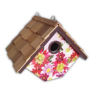 Printed Wren Hanging Birdhouse – Dahlia W/Plum