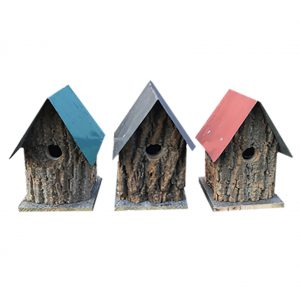 Rustic Bark Cabin Trio Birdhouses