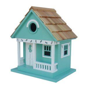 Aqua Seahorse Cottage Birdhouse