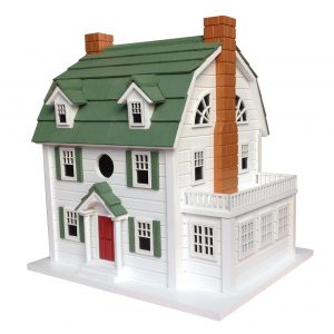 Classic Colonial Birdhouse In White With Green Roof