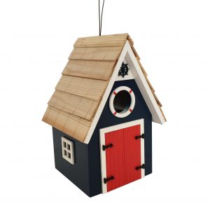 Lakeside Cabin Birdhouse In Blue