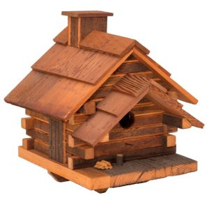 The Crockett Cabin Birdhouse, In Natural Cedar ( Medium)