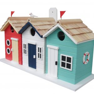 Bathing Box Birdhouse – Red/White/Teal