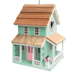 Queen's Quarters Cottage Birdhouse In Aqua