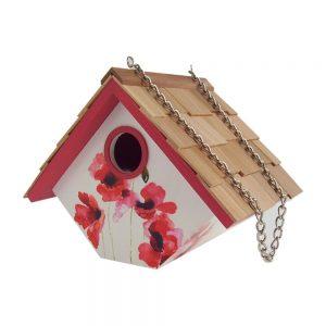 Garden Wren Birdhouse With Poppy