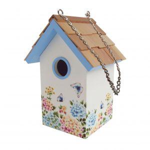 Garden Standard Birdhouse With Hydrangea