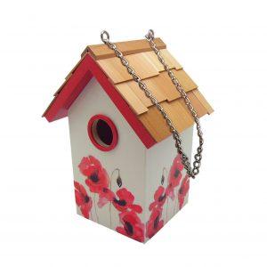 Garden Standard Birdhouse With Poppy