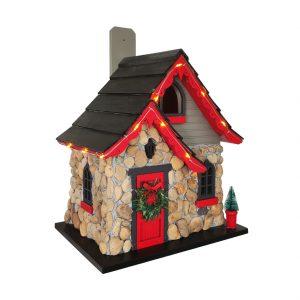 Mason Glen Stone Cottage Birdhouse W/ LED Lights